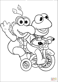 baby kermit and gonzo are riding a tricycle coloring page free