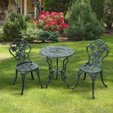 Cast Aluminium Garden Table And Chairs Outsunny 3 Pcs Cast Aluminum Bistro Set Green Aosom Co Uk