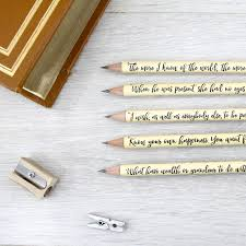 personalised quote gifts personalised sense and sensibility quote pencils by six0six design