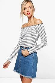 boohoo clothing stripe the shoulder top boohoo