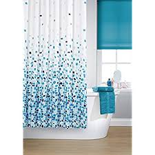 Polyester Shower Curtains Vibrant Mosaic Blue On A White Background Polyester Shower Curtain