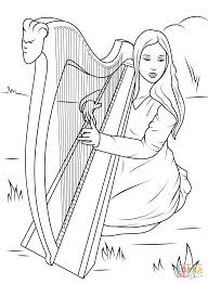 playing celtic harp coloring page free printable coloring pages