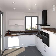 plan de cuisine moderne cuisine moderne blanche et bois décor chêne vieilli pour le plan