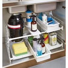 Under Bathroom Sink Storage Ideas by Expandable Under Sink Organizer Sinks Pipes And Container Store