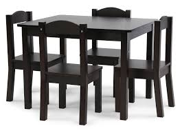 Kids Wooden Table And Chairs Set Tot Tutors Kids Wood Table And 4 Chairs Set Espresso Espresso