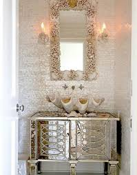 Shell Sconces Bathroom Design And Decoration Using Rectangular White Mirror
