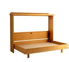 the revera horizontal murphy bed in oak honey finish shown bed