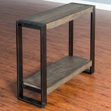 distressed pine coffee table with industrial metal frame by sunny
