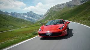 ferrary driving 458 spider on the stelvio pass car and driver