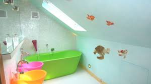 bathroom colorful kids bathroom with green freestanding bathtub