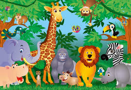 of the jungle cartoon children s wall mural ohpopsi wallpaper jungle theme wallpaper for kids