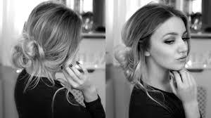 3 minute easy updo last minute party hair tutorial side bun