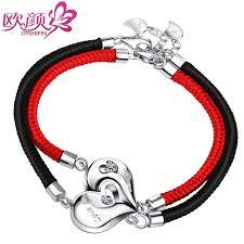 black heart bracelet images Ouyan couples bracelets red black rope sterling silver chain jpg