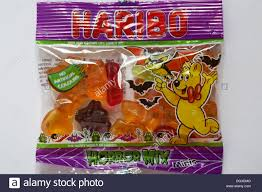 halloween love background packet of haribo horror mix sweets ready for halloween isolated on
