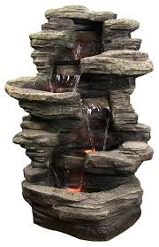 Home Decor Fountain Stacked Shale Outdoor Water Fountain With Led Lights By Sunnydaze