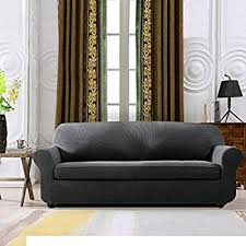 5 Piece Sofa Slipcover Amazon Com Sure Fit Stretch Metro 2 Piece Sofa Slipcover Gray