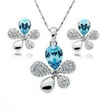 blue crystal necklace set images Buy online necklace set flower leaf shaped pendant set jpg