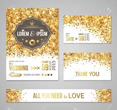 Wedding Invitation Cards Designs Set Of Wedding Invitation Cards Design Gold Confetti And White