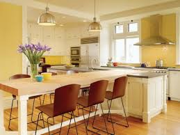 kitchen kitchen in open space with long white slim island with