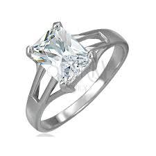 snubny prsten snubný prsteň veľký obdĺžnikový zirkón s troma otvormi po oboch