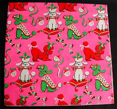 mid century mod vintage poodle christmas gift craft wrapping paper