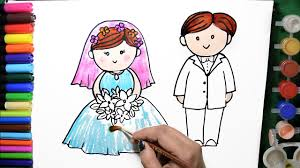 draw color paint wedding bride groom coloring pages learn