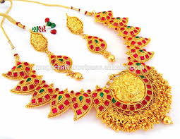 gold stone necklace sets images Wedding wear south indian jewellery one gram gold plated temple jpg