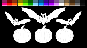 Halloween Bats To Color by Learn Colors For Kids And Color Halloween Pumpkins And Bats