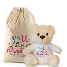 flower girl teddy you for being our bridesmaid flower girl personalised teddy