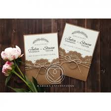 country style invitation with lace and twine pocket card