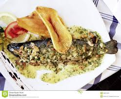 trout with almonds sauce royalty free stock photography image