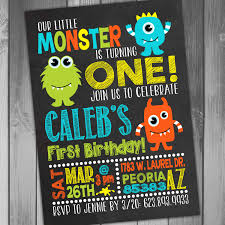 First Birthday Invitation Cards For Boys 1st Birthday Monster Invitations Vertabox Com