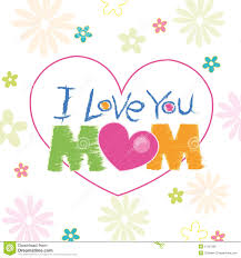 i love you mom doodle with flowers greeting card stock vector