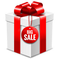 big present bow big white gift box with bow and big sale tag isolated on white