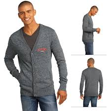 mens cardigan sweater district made dm315 s cardigan sweater embroidered logo