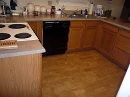 interior natural cork flooring in kitchen with electric stove