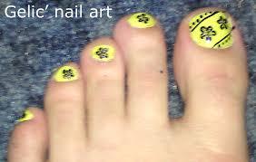 gelic u0027 nail art black and yellow flower pedicure nail art