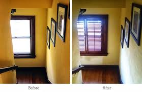 new pella window wooden plantation shutter before and after