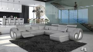canap cuir gris clair canapé d angle panoramique avec éclairage nesta mobilier moss