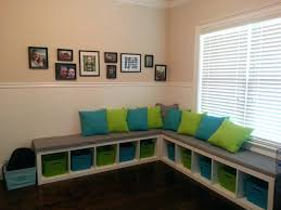 Storage Bench Kids Ikea Bookshelf Turned Into Bench For Kids Playroom Ikea Expedit