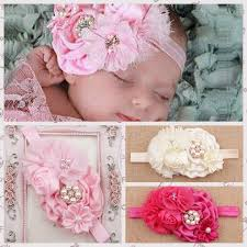 cheap headbands baby chiffon headbands satin cloth with pearl flower for