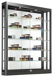 Wall Display Cabinet With Glass Doors Black Wall Glass Sliding Doors With 5 Shelves