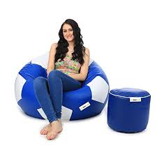 can xl denim bean bag chair and round pouffe without beans blue
