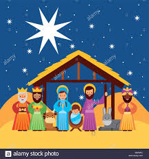 merry greetings with jesus born in manger joseph and