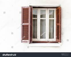 retro window brown wooden shutters curtains stock photo 509362177