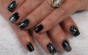 stunning black gel nails with holo silver glitter u0026 stamping youtube