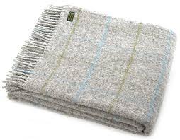 windowpane check pure new wool blanket in light grey with aqua