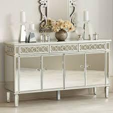 elizabeth silver mirrored 4 door buffet cabinet 7y987 lamps plus