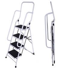 Fold Up Step Ladder by Foldable Non Slip 2 3 4 Step Steel Ladder Tread Stepladder Safety
