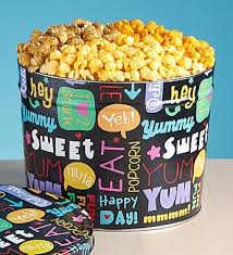 with snacks popcorn tins 3 1 2 gallon 3 flavor